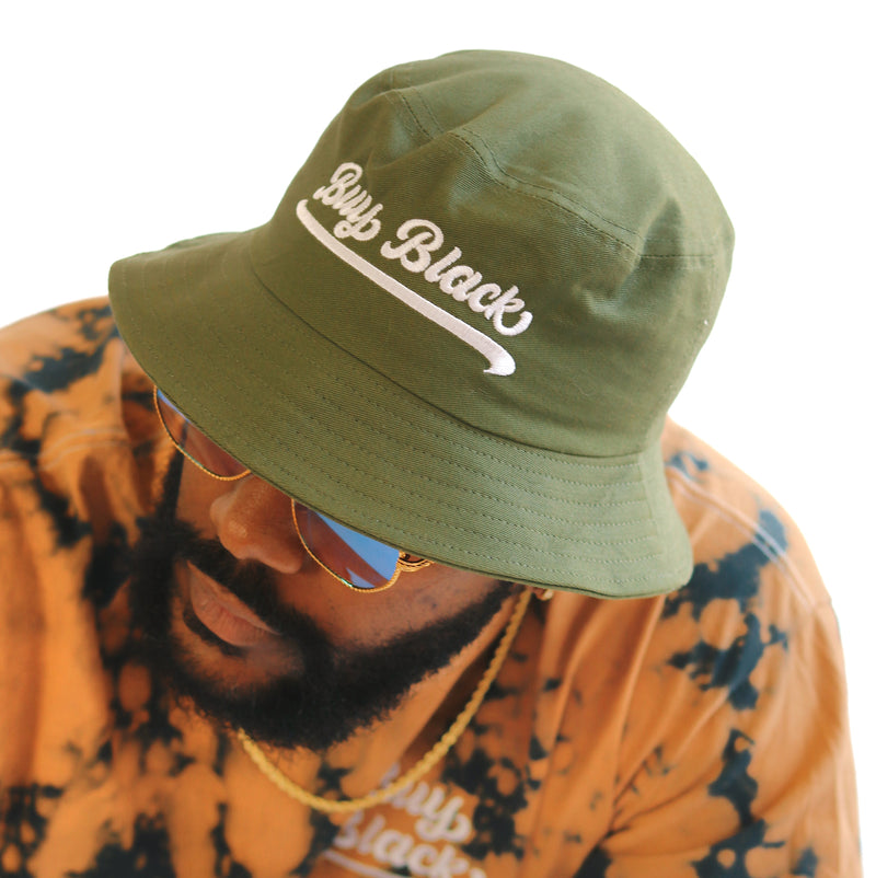 BUY BLACK BUCKET HAT MILITARY GREEN