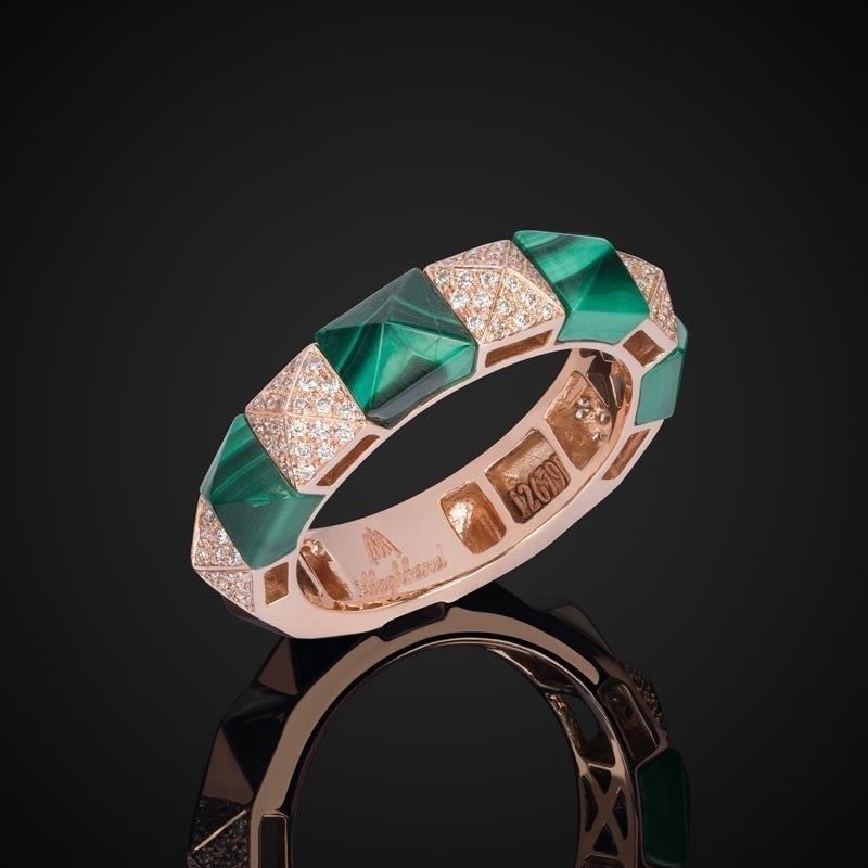 Pyramid Fine Ring With Malachite & Diamonds / Rose Gold