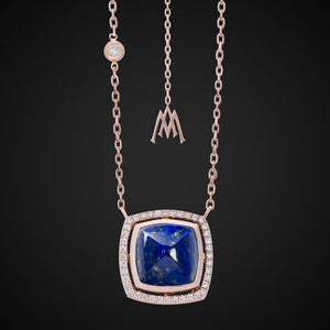 PYRAMID LAPIS LAZULI & DIAMOND NECKLACE / ROSE GOLD