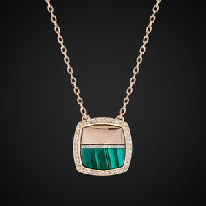Pyramid Necklace Half In Gold & Half With Malachite In Rose Gold