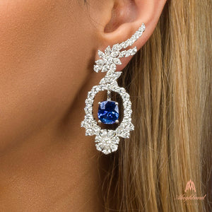 Earrings With Cushion Cut Blue Sapphires & Diamonds In White Gold