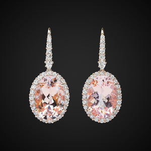 Morganite Oval Earrings In Rose Gold