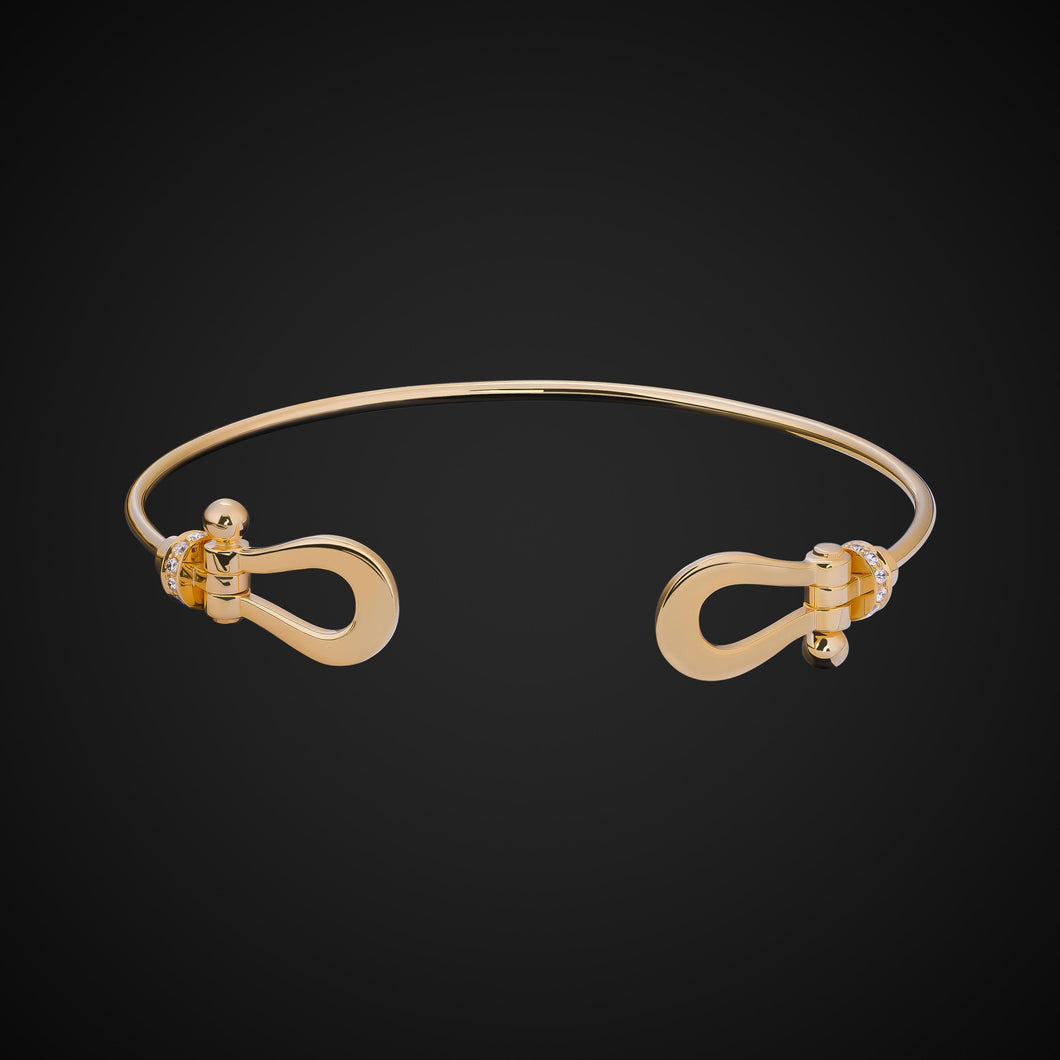 Ala Bangle Bracelet With Diamonds In Yellow Gold