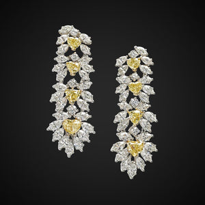 Earrings With Round & Heart Cut Diamonds In White & Yellow Gold