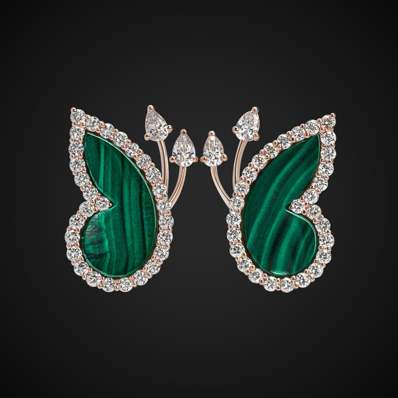 Butterfly Stud Earrings With Malachite & Diamonds