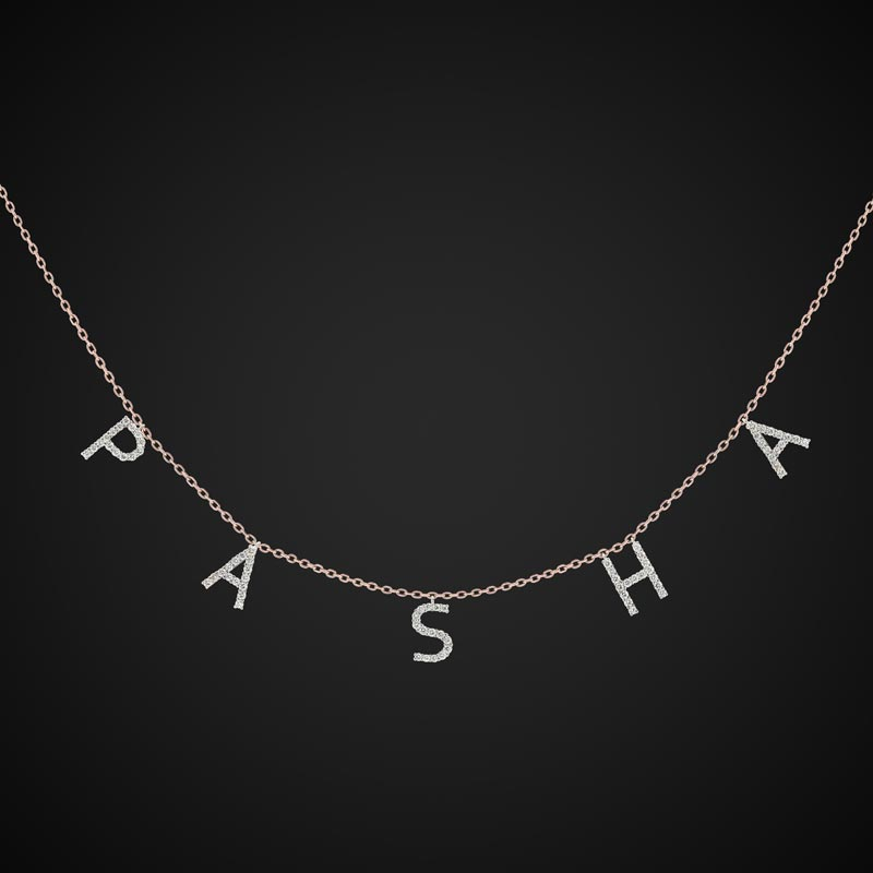 Pasha Necklace With Full Diamond Letters In Rose Gold