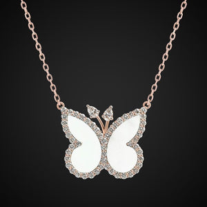Butterfly Necklace With Mother Of Pearl & Diamonds In Size Large