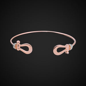 Ala Bangle Bracelet With Diamonds In Rose Gold