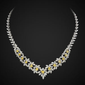 Necklace With Round & Heart Cut Diamonds In White & Yellow Gold