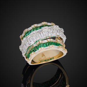 Triple-Stranded Diamond Ring With Emerald Baguettes In Yellow Gold