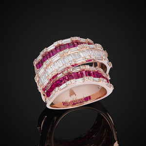 THREE ROW BAGUETTE DIAMOND & RUBY RING / WHITE GOLD