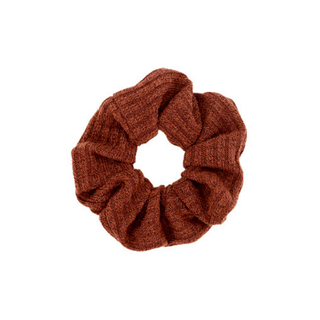 Scrunchie woven Rust brown
