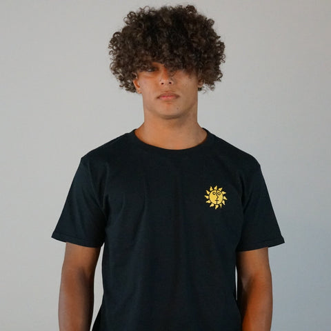 Black cotton shirt with sun