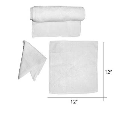 "Cre8tion Facial Towel 12 "" x 12"" dz - White"