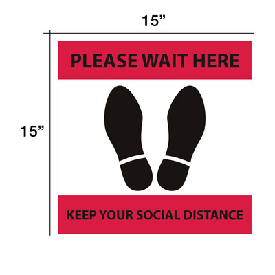 "Cre8tion Social Distance Floor Sticker 15"" x 15"" Red - Square"