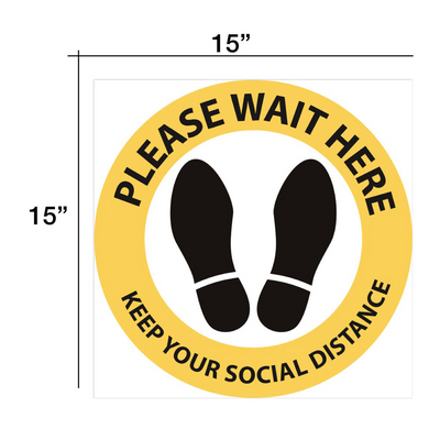 "Cre8tion Social Distance Floor Sticker 15"" x 15"" Yellow - Round"
