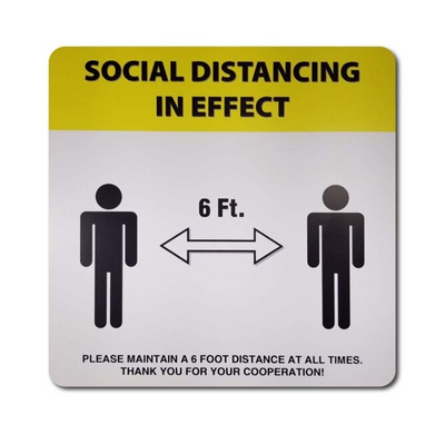 "Cre8tion Social Distance Wall/Glass Door Sticker 12"" x 12"" Yellow - Square"