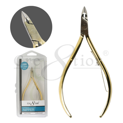 Cre8tion Hard Steel Cuticle Nippers Polished - Gold C555 12 pcs./box, 288 pcs./case