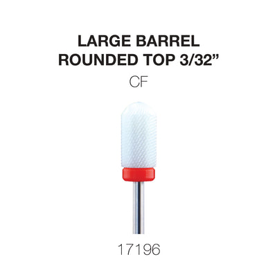 Cre8tion White Ceramic - Large Barrel- Rounded Top - CF -  3/32