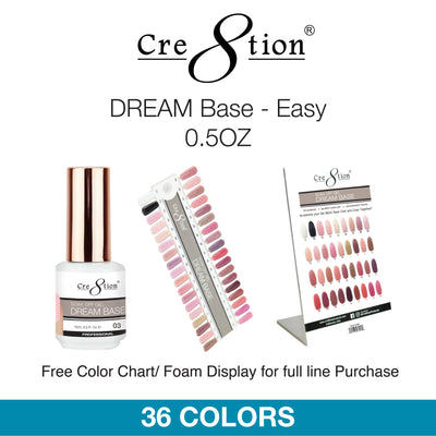 Cre8tion Soak Off Gel - Dream Base-Easy 0.5oz 36 Colors 12 pcs./box, 216 pcs./case