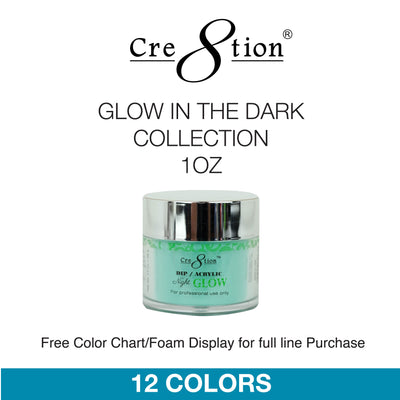 Cre8tion Dip Powder - Glow In The Dark Collection 1oz 12 Colors 6 pcs./box, 60 pcs./cas