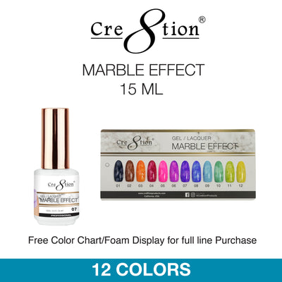 Cre8tion Soak Off Gel - Nail Art Marble Effect 15 ml 12 Colors 12 pcs./box, 216 pcs./case