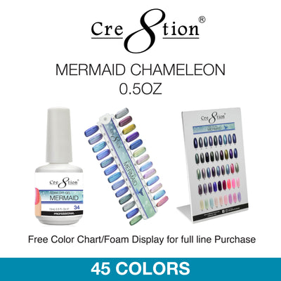 Cre8tion Soak Off Gel - Mermaid Chameleon 0.5oz 45 Colors 12 pcs./box, 216 pcs./case