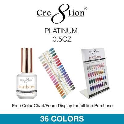 Cre8tion Soak Off Gel - Platinum 0.5oz 36 Colors 12 pcs./box, 216 pcs./case