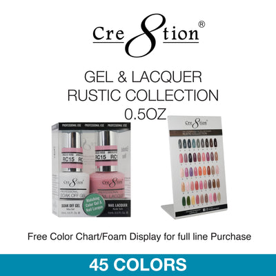Cre8tion Soak Off Gel - Gel & Lacquer Rustic Colletion 0.5oz 45 Colors