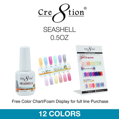 Cre8tion Soak Off Gel - Seashell 0.5oz 12 Colors 12 pcs./box, 216 pcs./case