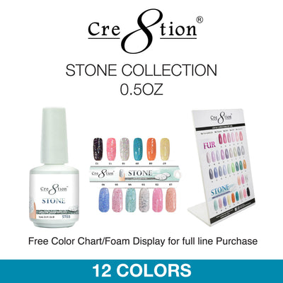 Cre8tion Soak Off Gel - Stone Collection 0.5oz 12 Colors 12 pcs./box, 216 pcs./case