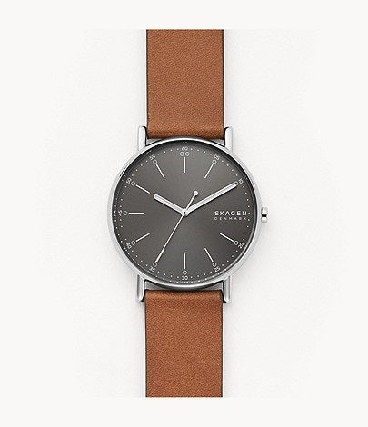 Skagen Signatur Three-Hand Brown Leather Watch SKW6578