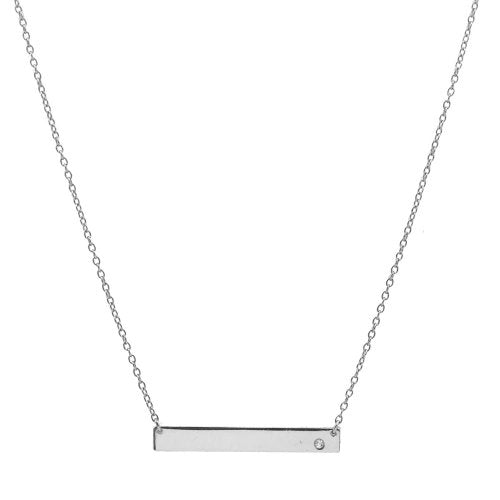 Rhodium-plated Sterling Silver Necklace with CZ Stone