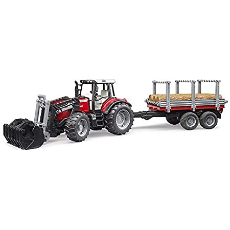 Bruder 02046 Massey Ferguson + Frontloader and timber trailer