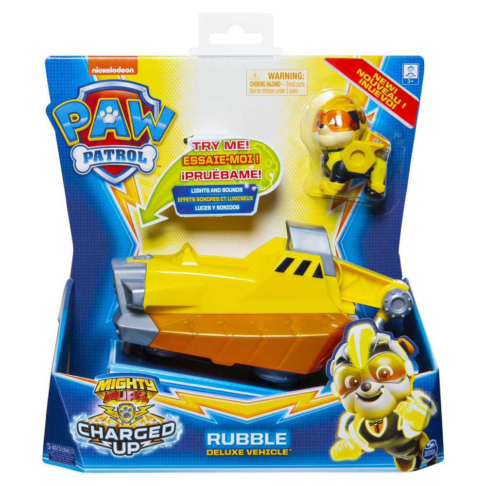 Paw Patrol Mighty Pups Charged Up Deluxe Vehicle - Rubble