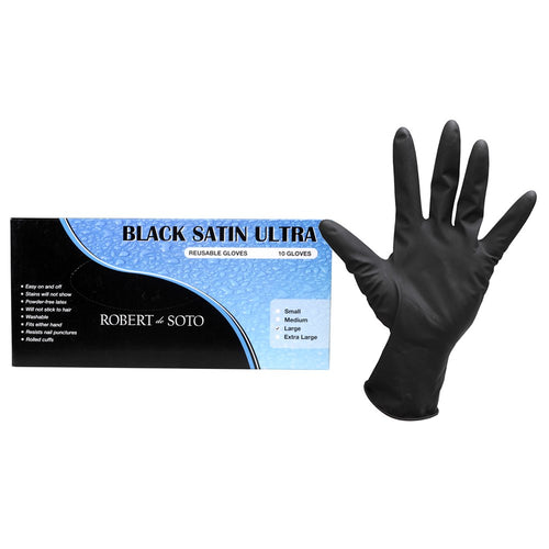 Black Satin Ultra Reusable Gloves 10pk SMALL