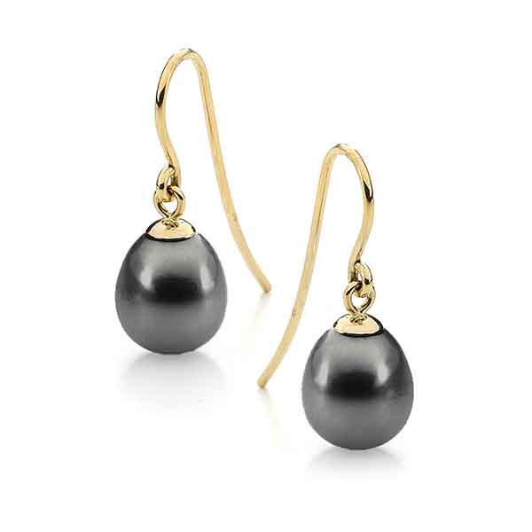Black Drop Freshwater Pearl Shepherd Hook Earrings 9ct Yellow Gold