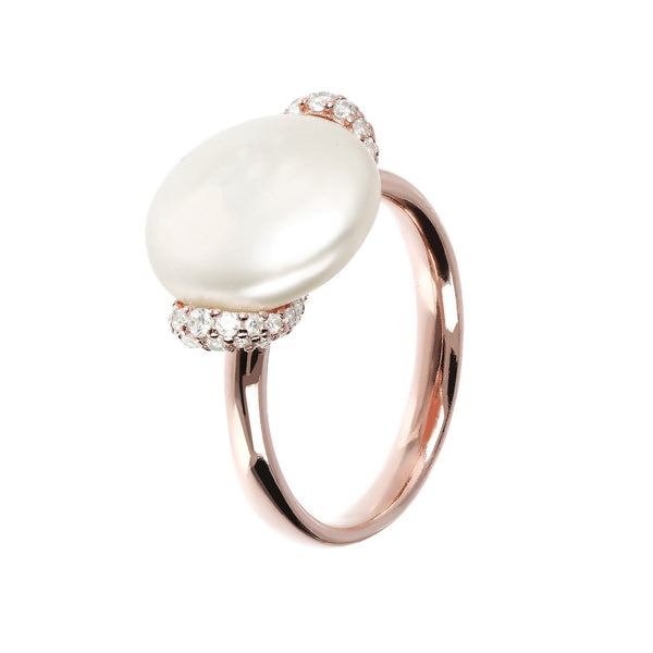 Bronzallure Maxima Freshwater Pearl Ring with Cubic Zirconia