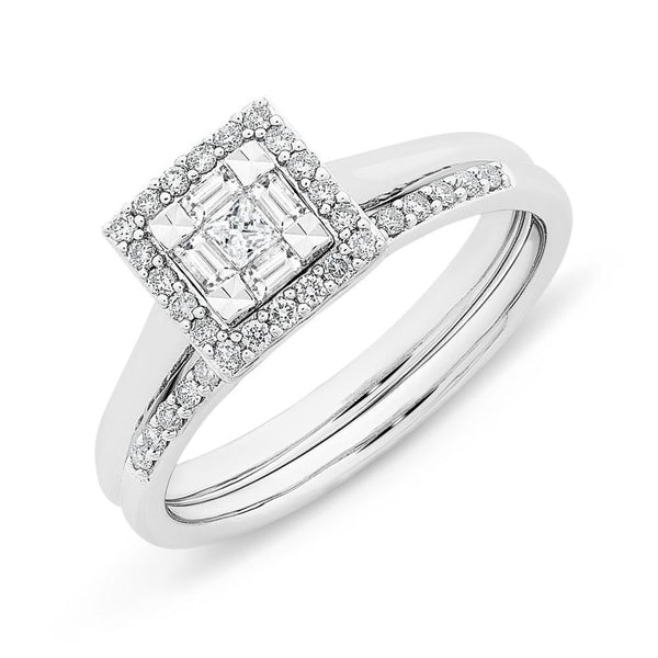 9Ct White Gold 0.33Ct Diamond Bridal Set