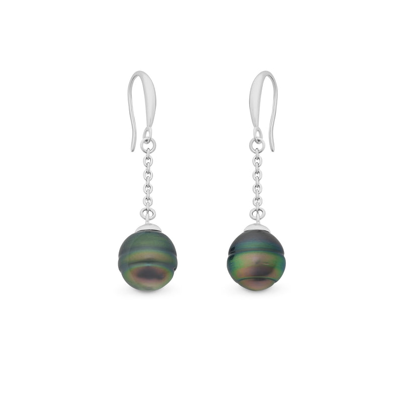 Sterling Silver Tahitian Pearl Earrings