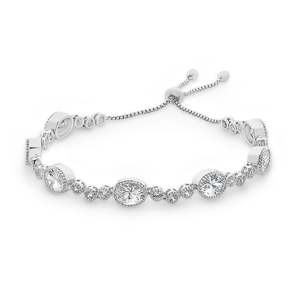 Sterling Silver Cubic Zirconia Friendship Bracelet