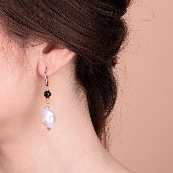 Bronzallure Black Spinel and Baroque Pearl Earrings