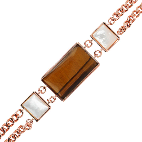 Bronzallure Tiger Eye & Mother of Pearl Bracelet