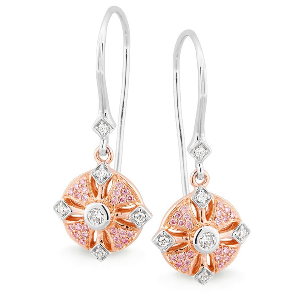 PINK CAVIAR 0.246ct Pink Diamond Earrings in 9ct White & Rose Gold