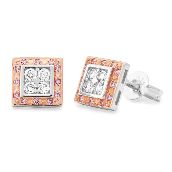 PINK CAVIAR 0.28ct Pink Diamond Earrings in 9ct White & Rose Gold