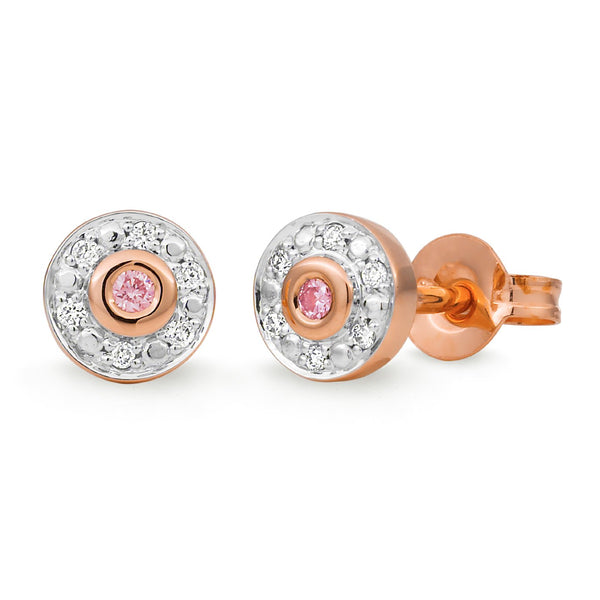 PINK CAVIAR 0.09ct Pink Diamond Earrings in 9ct Rose Gold