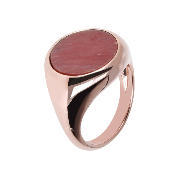 Bronzallure Red Fossil Wood Disc Rings