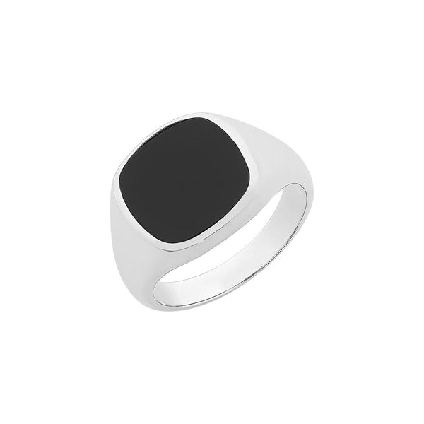 Sterling silver black onyx gents ring