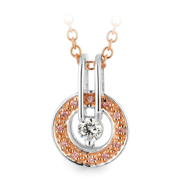 PINK CAVIAR 0.16ct Pink Diamond Pendant in 9ct White & Rose Gold