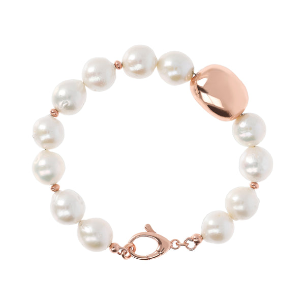 Bronzallure Pearls and Golden Rose Nugget Bracelet